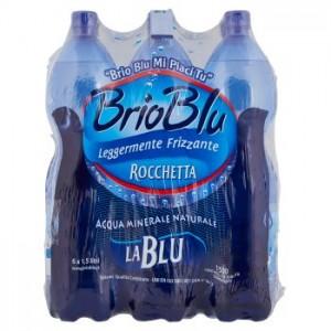 Acqua Minerale Leggermente Frizzante  Brio Blu Rocchetta - 6 Bottiglie da  1,5 LT