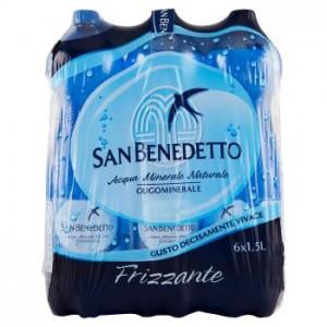 Acqua Minerale  Frizzante  San Benedetto - 6 Bottiglie da  1,5 LT